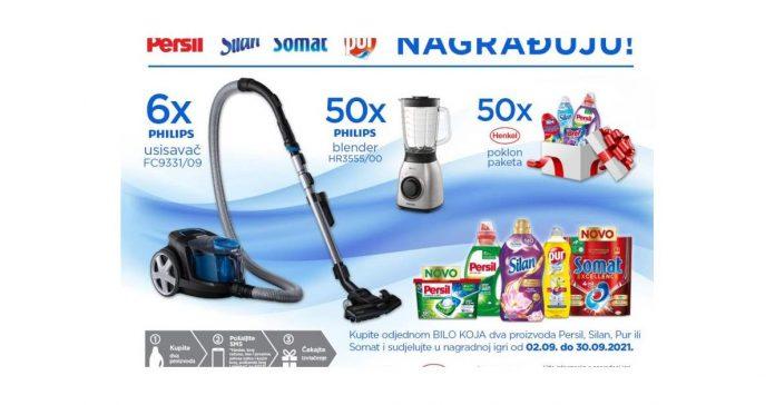Philips usisavač FC9331/09, Philips blender HR3555/00, Persil deterdžent, Silan omekšivač, Pur za suđe i Somat za perilicu suđa